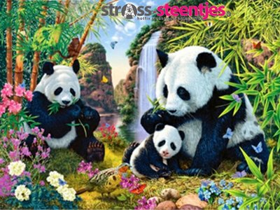 Diamond Painting pakket - Familie Panda 60x45 cm (full)