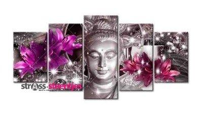 Diamond Painting pakket - Buddha 5 luik 2x20x30, 2x20x40, 1x20x50 cm (full)