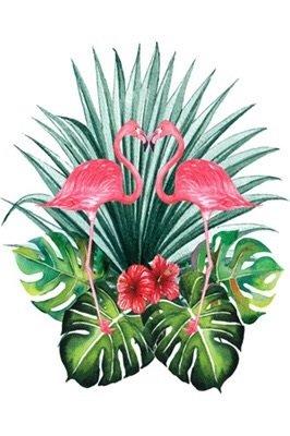 Diamond Painting op schildersezeltje - 2 Flamingo's 10x15 cm (Partial)
