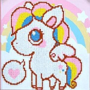 Diamond Painting pakket - Cartoon Pony 30x30 cm (Partial) ronde steentjes