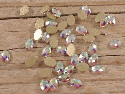 Bolle Ovaal 6 mm Crystal AB Non hotfix Rhinestones figuren Superior Glamour kwaliteit