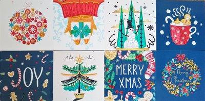 Diamond Painting Kerstkaarten - Set van 8 stuks inclusief o.a. Joy (Partial) vormen special