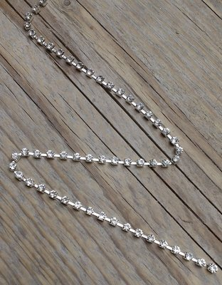 Strassketting 3 mm Crystal - Silver Cup