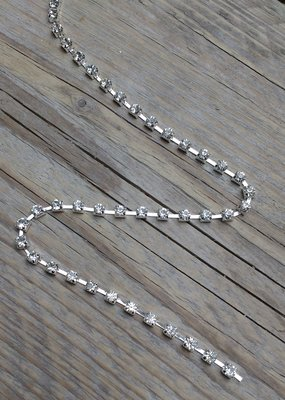 Strassketting 4 mm Crystal - Silver Cup