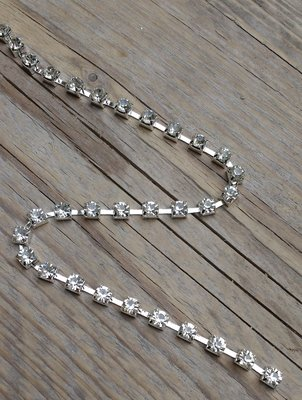 Strassketting 5 mm Crystal - Silver Cup