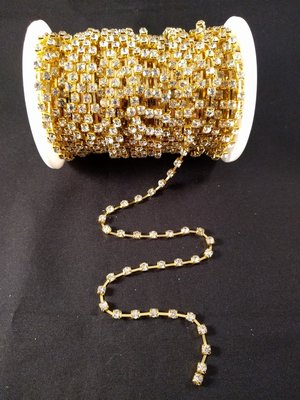 Strassketting 4 mm Crystal - Gold Cup