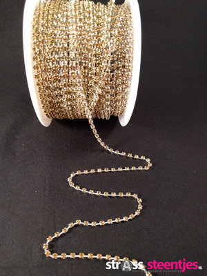 Strassketting 3 mm Gold - Silver Cup
