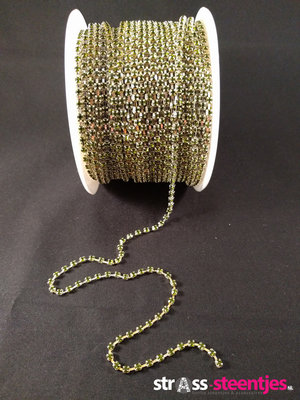 Strassketting 3 mm Green - Silver Cup
