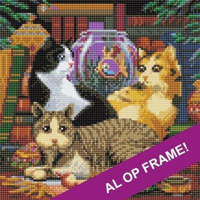 Full Diamond Painting op Frame - Poesjes bij vissenkom 30x30 cm