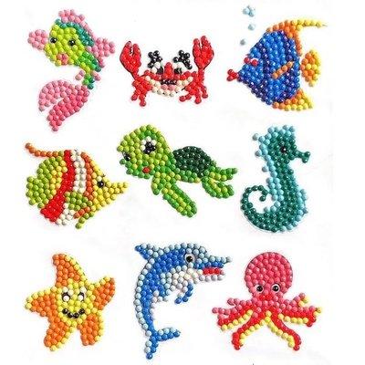Diamond Painting Stickers - Set kleine Waterdiertjes - 9 stuks
