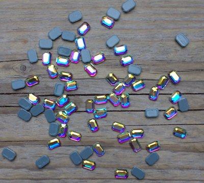 Rechthoek met schuine hoeken 6 mm Crystal AB Hotfix Rhinestones Superior kwaliteit