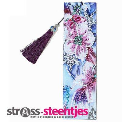 Diamond Painting Boekenlegger - Wit met paarse bloemen en roze vlindertje 5x20 cm