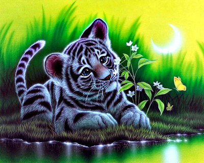 Diamond Painting pakket -Jong tijgertje bij het water 30x24 cm (full)