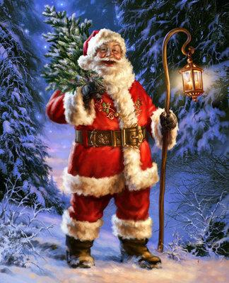 Diamond Painting pakket - De kerstman met lantaarn en boom in het bos 30x37 cm (full)