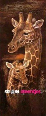 Diamond Painting pakket - Giraffe met jong 30X75 cm (full)