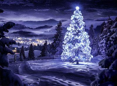 Diamond Painting pakket - Verlichte kerstboom in de nacht met een dorpje op de achtergrond 40x30 cm (full)