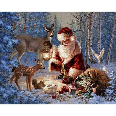 Diamond Painting pakket - De kerstman voert dieren in het bos 45x36 cm (full)