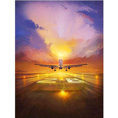 Diamond Painting pakket -  Opstijgend vliegtuig 45x60 cm (full)