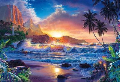 Diamond Painting pakket - Zee, strand, zonsondergang met palmbomen en vuurtoren 70x48 cm (full)