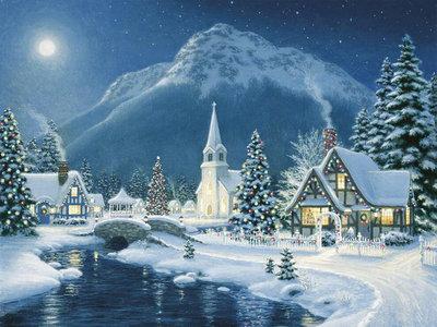 Diamond Painting pakket - Versierd kerstdorpje voor een berg in de nacht 40x30 cm (full)