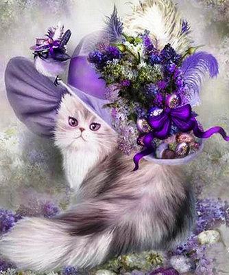 Diamond Painting pakket - Perzische kat met een paarse hoed 50x60 cm (full)