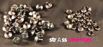 Studs met Strass Black Diamond 8 mm (glas)