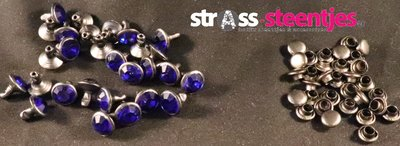 Studs met Strass Cobalt 8 mm (glas) donkere cup