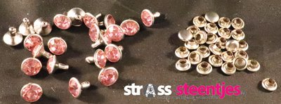 Studs met Strass Light Rose 8 mm (glas)
