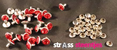 Studs met Strass Light Siam 8 mm (glas)