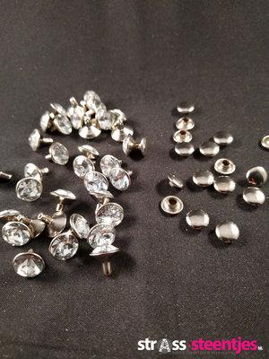 Studs met Strass Crystal 6 mm (glas)