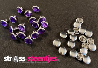 Studs met Strass (Acryl) - Violet 6 mm