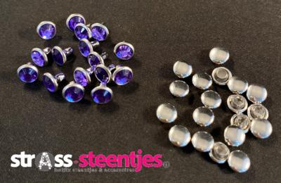 Studs met Strass (Acryl) - Tanzanite 6 mm