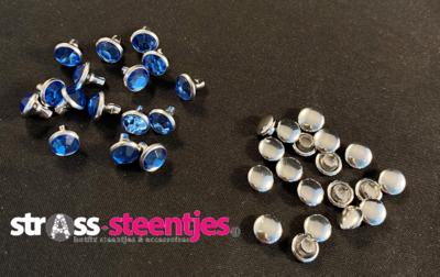 Studs met Strass (Acryl) - Light Sapphire 6 mm