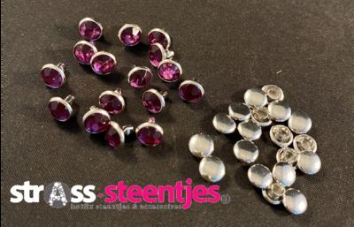 Studs met Strass (Acryl) - Light Amethyst 6 mm