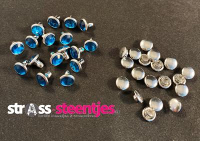 Studs met Strass (Acryl) - Blue Zircon 6 mm