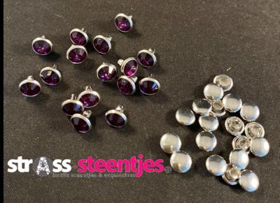 Studs met Strass (Acryl) - Amethyst 6 mm