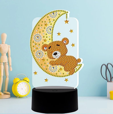 Diamond Painting Beertje slapend op de maan - Tafellamp met LED