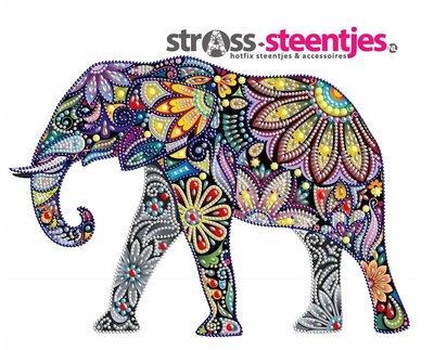Diamond Painting pakket - Kleurrijke olifant met speciale vormstenen 20x20 cm (Special)