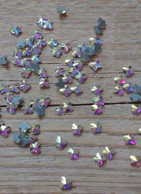 Vlindertje 5 mm Crystal AB Hotfix Rhinestones Superior kwaliteit