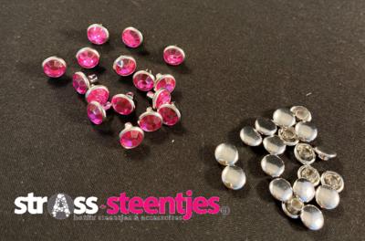Studs met Strass (Acryl) - Pink 6 mm
