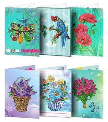 Diamond Painting love kaarten met o.a. papegaai en bloemen - Set van 6 stuks (Partial met ronde steentjes)