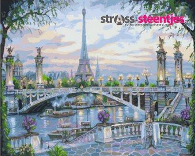 Diamond Painting pakket - Eiffeltoren achter de Seine met brug 60x45 cm (full)