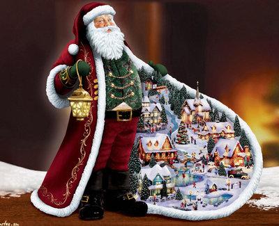 Diamond Painting pakket - De kerstman met een kerstdorpje in zijn jas 65x50 cm (full)