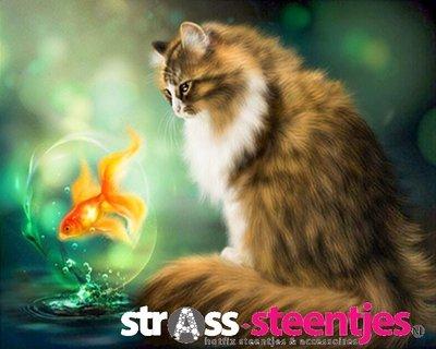 Diamond Painting pakket - Langharige kat met goudvis 60X50 cm (full)
