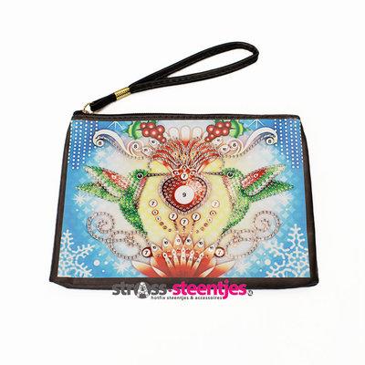 Diamond Painting Etui Groot / Mini Tasje - 2 kolibries 20x16 cm