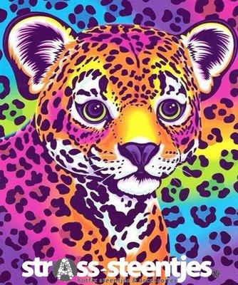 Diamond Painting pakket - Gekleurd luipaardje 25x30 cm (full)
