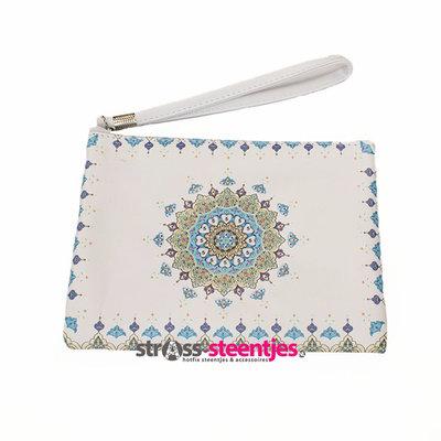 Diamond Painting Etui Groot / Mini Tasje - Wit met blauwe mandala 20x16 cm