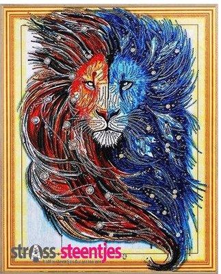 Diamond Painting pakket - Rood met blauwe Leeuw met speciale vormstenen 40x50 cm (Special)
