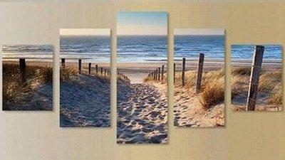 Diamond Painting pakket - Pad door de duinen naar het strand 5 luik 2x20x30, 2x20x40, 1x20x50 cm (full)