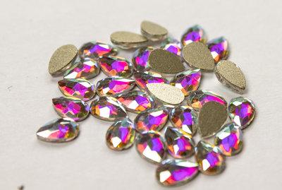 Bolle Druppel 6 mm Crystal AB Non hotfix Rhinestones figuren Superior Glamour kwaliteit